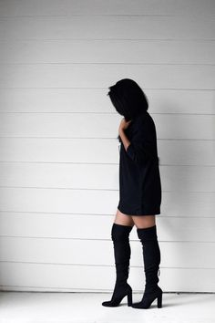 Style Tip: Need help with how to style thigh high boots for the fall and winter? Pair them with a mens sweatshirt for a comfortable and on trend look. Click through to see the full post and outfit details!   Venti Fashion
