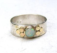 White opal Gemestone Engagement Ring  14k gold ring by OritNaar
