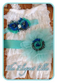 White and Aqua Blue embellished romper and by TheElegantElla, $36.50
