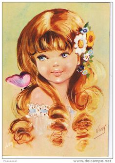 Vintage postcard from the Eye Illustration, Retro Kids, Collectible Cards, Long Brown Hair, Le Jolie, Advertising Photography, Old Paper, Big Eyes, France