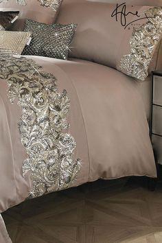 Buy Kylie Petra Nude Duvet Cover from the Next UK online shop Sparkly Bedroom, Silver Bedroom, Glam Bedroom, Bedroom Decor, Designer Bed Sheets, Luxury Bed Sheets, Luxury Bedding, Bed Cover Design, Cushion Cover Designs