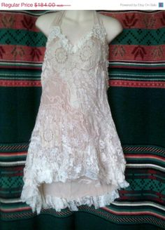 "20% OFF vintage inspired shabby chic white cotton doilies and lace halter dress...large to firm 42'"" bust"