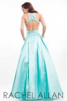 RACHEL ALLAN 7206 prom ball gown with a beautiful back and so love the mint shade #ipaprom