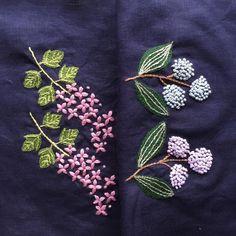 """좋아요 247개, 댓글 16개 - Instagram의 ゆう(@yu.su713)님: """"2017.3.27(月)くもり  おはようございます♪ ・ 昨日は冷たい雨…  今日も窓の外は寒空… 桜の開花はまだまだかな…? * * アップリケ刺繍の葉っぱの部分を チェーンステッチで埋めました…"""""""