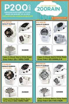 WHITE PARADE OF MEN'S WATCHES @LAZADA'S ITS RAINING DEALS PROMO! SAVE P200.00 OFF DICOUNT on CASIO G-SHOCK! USE VOUCHER CODE:200RAIN | EXCLUSIVE ON MOBILE APP ONLY! PROMO is VALID on AUGUST 15-16, 2015!