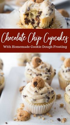 Homemade Cookie Dough, Cookie Dough Frosting, Cookie Dough Cupcakes, Homemade Cookies, Homemade Cupcake Recipes, Desserts With Cookie Dough, Unique Cupcake Recipes, Fun Cupcakes, Simple Cupcakes