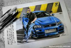 Paul walker skyline Rip Paul Walker, Car Drawings, Cool Art, Skyline, Cool Stuff, Tatoo, Drawings Of Cars, Cool Artwork