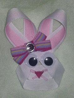Adorable Easter Bunny Ribbon Sculpture Hair Clip/ Hair Bow. $5.90, via Etsy.