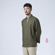 Nakali Chinese Style Mens Kung Fu Hanfu Zen T-Shirt 100% Linen Pullover Green