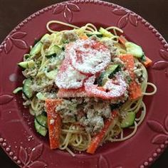 Springtime Spaghetti Allrecipes.com. - instead of heavy cream I would use Greek lime yougurt. Also would saute zukes and carrots in olive oil instead of butter