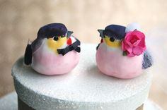 Happy Love Birds Wedding Cake Topper in Plum and by beckykazana, $30.00