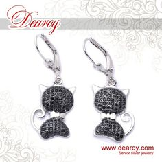 High-end 925 Sterling Silver Platinum Plated Fashion Black Cat Earrings $324 with free shippig