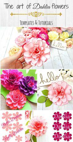 How to make paper dahlias. Paper flower templates and tutorials. Alternative bouquet ideas. DIY wedding bouquet. By: Catching Colorflies Designs