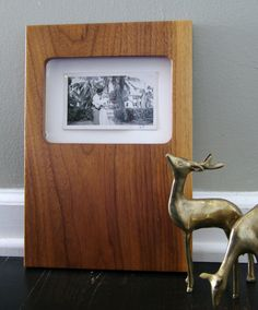 Mid Century Modern wood picture frame solid walnut 8x10 via Etsy