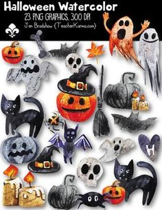 Halloween Watercolor Clipart!  You will LOVE these ** 23 ** water colored graphics that are so much FUN! They are absolutely perfect for adding to parent newsletters, literacy and writing stations, activities, printables and student worksheets, class invitations, etc.