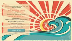 Beach Theme Bar & Bat Mitzvah Invitations from Mitzvites - Sea with Jewish Star - mazelmoments.com