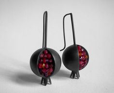 Pomegranate Earrings Red Pink Orange Purple by Artesserae