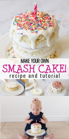 diy birthday cake Smash Cake Recipe and Tutorial is a step by step guide to show you how to make a Smash Cake that is simple and easy! This Smash Cake is great for a first birthday and photos! Easily customizable, this Smash Cake is one cake fits all! Baby First Birthday Cake, Diy Birthday Cake, Homemade Birthday Cakes, Homemade Cakes, Simple First Birthday, Homemade Smash Cake, Healthy Birthday Cakes, Homemade Food, 1st Birthday Cakes For Girls