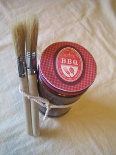 BBQ Gift Set by creativetracks.  Make your own BBQ sauce, put in a jar & make a cute stamped top for it & attach a couple brushes with twine to the side. - Cards and Paper Crafts at Splitcoaststampers