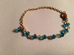 Teal Bracelet Crystal Bracelet Gold Chain by prettylittlepretties, $16.00