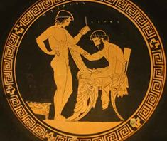 This is a picture describing pederasty during the Classical Period in Greece; men and pre-pubescent young men would have a courtship. This time period tells us the most about this lifestyle.