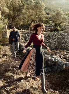 """In Her Element - """"I like waking up in the morning and putting on Wellington boots,"""" says the actress, whose country retreat is a farm in Devon. Rochas burgundy cardigan. Mulberry skirt with floral panel. Hunter rain boots. On Schoenaerts: J.Crew sweater."""