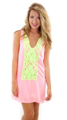 need this neon pink & yellow crochet dress!