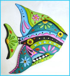 Hand Painted Metal Whimsical Fish Art Design, Tropical Fish Wall Hanging,  Funky Art, Metal Wall Art, Tropical Art, Patio Decor - J-452-AQ by TropicAccents on Etsy
