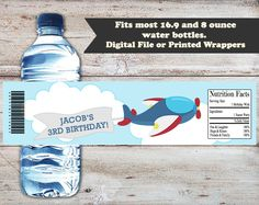 Airplane Water Bottle Labels, Airplane Water Bottle Wrappers, Plane Birthday…