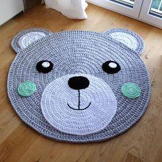 """Bärchi"" children& room rug / bear rug / bear - carpets - home textiles . Crochet Mat, Crochet Rug Patterns, Crochet Carpet, Crochet Toys, Animal Rug, Bear Rug, Knit Rug, Nursery Rugs, Crochet Home Decor"