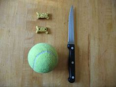 Cut a small line in the tennis ball and put some treats inside.it can keep your dog occupied for hours. - make sure they don't eat the tennis ball pieces Homemade Dog Toys, Diy Dog Toys, Pet Toys, Dog Treat Puzzles, Dog Puzzles, Diy Projects For Dog Lovers, Dog Enrichment, Dog Boarding Near Me, Diy Dog Treats