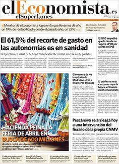 Los Titulares y Portadas de Noticias Destacadas Españolas del 15 de Abril de 2013 del Diario El Economista ¿Que le parecio esta Portada de este Diario Español?