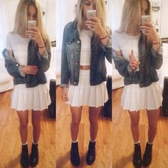 outfit today!  american apparel tennis skirt & crop top, H&M denim jacket, Doc Marten chelsea boots  have a beautiful day