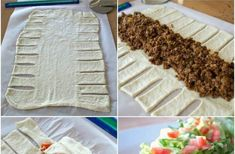 TACO BRAID Mexican Dishes, Mexican Food Recipes, Beef Recipes, Chicken Recipes, Homemade Tacos, Homemade Taco Seasoning, Taco Braid, Chopped Cheese, Fried Beans