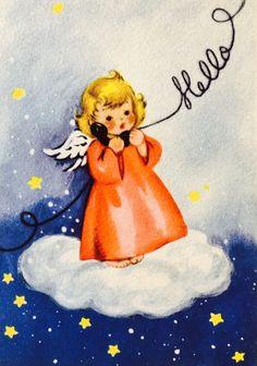 Vintage Christmas Card. Christmas Angel. Christmas Hello.