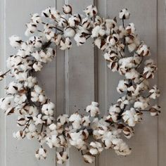 Cotton Wreath | Raw Cotton Wreath | Front Door Wreaths For Spring
