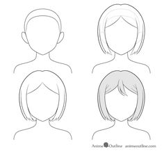 How to Draw Anime and Manga Hair - Female - AnimeOutline Body Drawing Tutorial, Manga Drawing Tutorials, Art Tutorials, How To Draw Anime Hair, Manga Hair, Art Drawings Sketches Simple, Easy Drawings, Drawing Base, Female Drawing