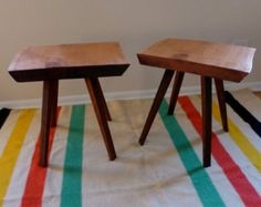 RECLAIMED wood mid century modern style TABLE nightstand side tables