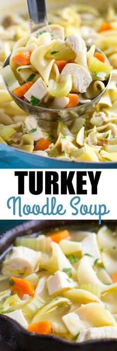 Put your leftover turkey to work in this quick and easy Turkey Noodle Soup! It's simple but delicious and perfect year-round. Or make it with chicken!