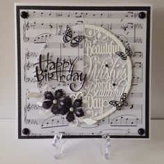 Tonic studios card using verso die birthday music background