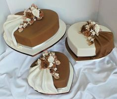 Brown and white heart shaped wedding cakes - Cake by Probst Willi Bakery Cakes