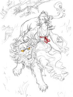 'Guan+Yin+with+Lion'+by+valkyriechan+on+artflakes.com+as+poster+or+art+print+$16.63