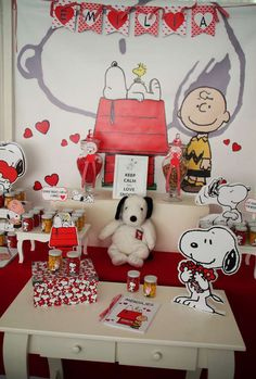 What a fun red and white Snoopy birthday party! See more party ideas at CatchMyParty.com!