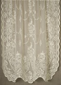 Rachel Nottingham Lace Curtain direct from London Lace: London Lace we specializing in the finest Scottish and Madras lace curtains and products like Rachel Nottingham Lace Curtain. Lace Shower Curtains, White Lace Curtains, Lace Valances, Curtain Patterns, Curtain Designs, Lace Patterns, Victorian Design, Victorian Lace, Curtains For Arched Windows