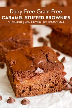 Rich chocolate brownies stuffed with super sweet date caramel! These dairy-free, gluten-free brownies will be your new favorite healthy dessert. Best Dessert Recipes, Fun Desserts, Whole Food Recipes, Delicious Desserts, Vegan Desserts, Free Recipes, Chocolate Brownies, Vegan Chocolate, Chocolate Heaven
