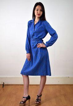 1970s blue shirt dress