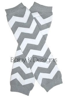 Christmas Gray n White Chevron Stripe NO Ruffle Sock Leg Warmer Legwarmers by Baby K Designs