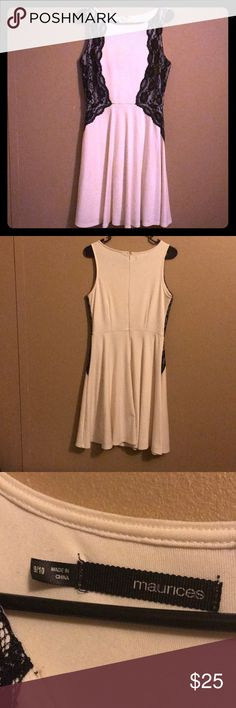 Gorgeous formal dress Sleeveless, White dress with black lace trim. Mini dress that is meant for more formal settings. Lightly worn. Size 9/10. Maurices Dresses Mini