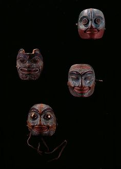 Collection of small wood masks. Tlingit, 19th century. @cargocultist
