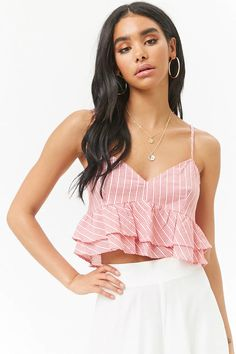 Cropped lace-up cami, category:top_blouses, blusas customizadas, Crop Top Outfits, Crop Top Shirts, Skirt Outfits, School Fashion, Girl Fashion, Fashion Outfits, Womens Fashion, Fashion Design, Cute Summer Outfits